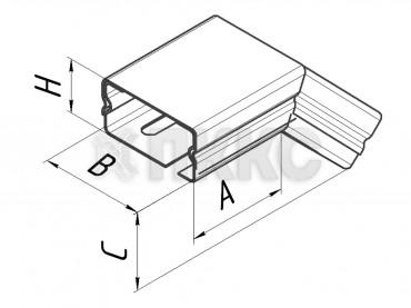 Короба угловые вертикальные поворота трассы на 45º вниз малого сечения