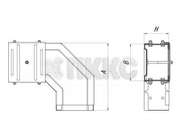 Короба угловые горизонтальные поворота трассы на 90º У1109, У1083, У1093