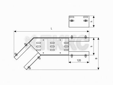 Лотки угловые для поворота трассы на 135° в горизонтальной плоскости перфорированные КГ (высота борта 200мм)