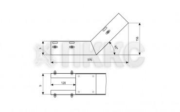 Лотки для поворота трассы вверх на 45° неперфорированные (глухие) КПГ (высота борта 65мм)