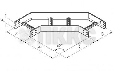 Угол горизонтальный 60° лестничного типа усиленный ЛЛУ-У60Г