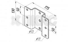 Пластина HTIP3 для двухстороннего крепления консолей HTI-C1, HTI-C2