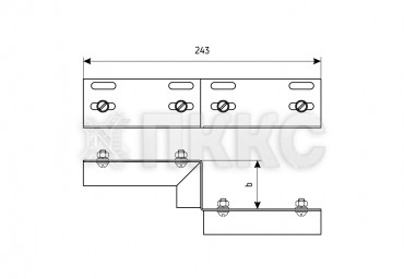 Соединитель-переходник лотковый для изменения сечения ПУгЛ (левый)